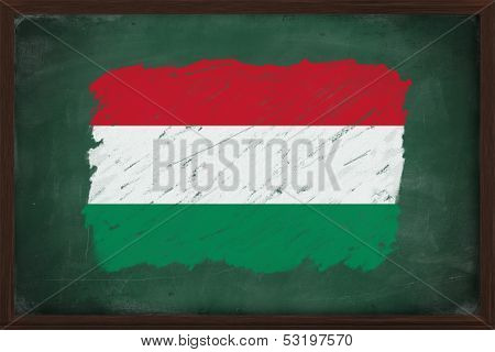 Hungary Flag Painted With Chalk On Blackboard
