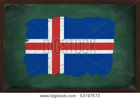 Iceland Flag Painted With Chalk On Blackboard