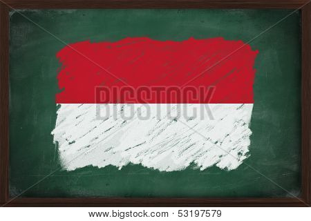 Indonesia Flag Painted With Chalk On Blackboard