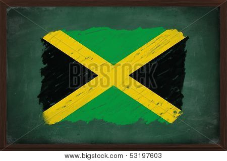 Jamaica Flag Painted With Chalk On Blackboard