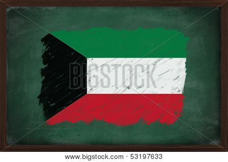 Kuwait Flag Painted With Chalk On Blackboard