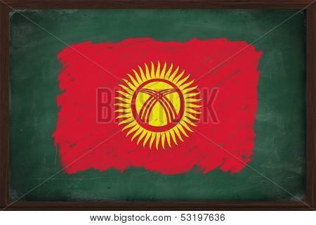 Kyrgyzstan Flag Painted With Chalk On Blackboard