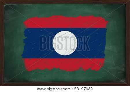 Laos Flag Painted With Chalk On Blackboard