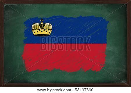Liechtenstein Flag Painted With Chalk On Blackboard