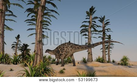 dicraeosaurus on shore