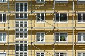 stock photo of scaffold  - Scaffolding as Safety Equipment on a Construction Site - JPG