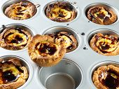 picture of pasteis  - Pasteis de Belem typical Portuguese custard pies - JPG