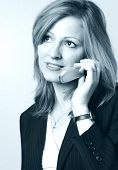 Business Woman On Cell Phone In Black And White