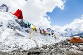 Everest Base Camp And Tent in Mountains