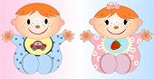 picture of underage  - Happy Twin Baby Boy And Girl Vector art and illustration - JPG