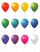stock photo of helium  - collection of colorful vector balloons on white background - JPG