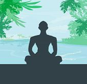 image of siluet  - Yoga meditation silhouette by man at palms ocean and sunset sky background - JPG