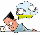 pic of counting sheep  - Isolated illustration of a Seeplesss man counting sheeps - JPG
