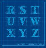 stock photo of initials  - vector blueprint style font alphabet set 3 - JPG