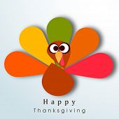 Beautiful, colorful cartoon of turkey bird for Happy Thanksgiving celebration, can be use as flyer,