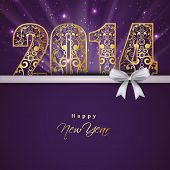 stock photo of golden  - Beautiful Happy New Year 2014 celebration background with floral decorated golden text and white ribbon on purple background - JPG