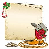 stock photo of poinsettia  - Christmas background with horseshoes and red poinsettia on cowboy hat - JPG