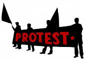pic of anarchists  - Vector drawing of anarchists with large flags - JPG