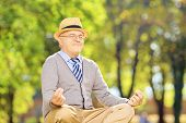 stock photo of stressless  - Senior gentleman meditating seated on a green grass in a park - JPG
