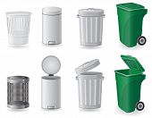 stock photo of trash truck  - trash can and dustbin set icons vector illustration isolated on white background - JPG