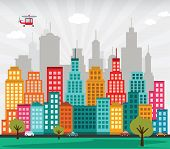 image of skyscrapers  - vector illustration of simple colorful modern city - JPG