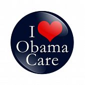 foto of mandates  - A blue button with word I Love ObamaCare and red heart isolated on white I Love ObamaCare Button - JPG