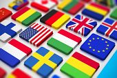 stock photo of flags world  - Creative abstract business international communication and cartography technology corporate office concept - JPG