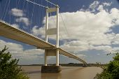 foto of chepstow  - The Severn Bridge (welsh Pont Hafren) crosses from England to Wales across the rivers Severn and Wye.