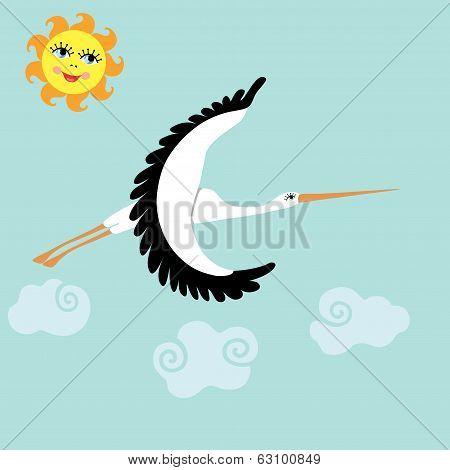 Stork  Flying In The Sky