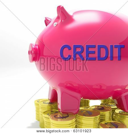 Credit Piggy Bank Means Financing From Creditors