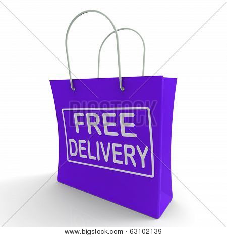 Free Delivery Shopping Bag Showing No Charge Or Gratis To Deliver