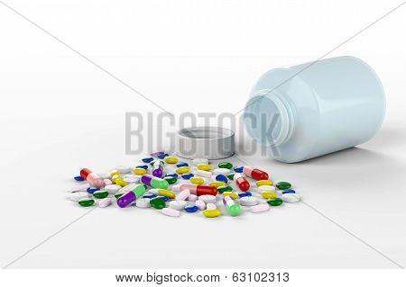 Collorful Pills Spilled From Bottle