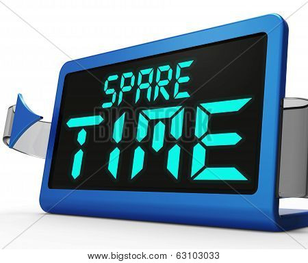 Spare Time Clock Means Leisure Or Relaxation
