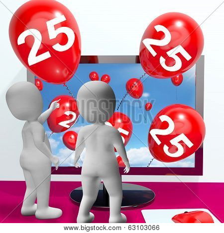 Number 25 Balloons From Monitor Show Online Invitation Or Celebration