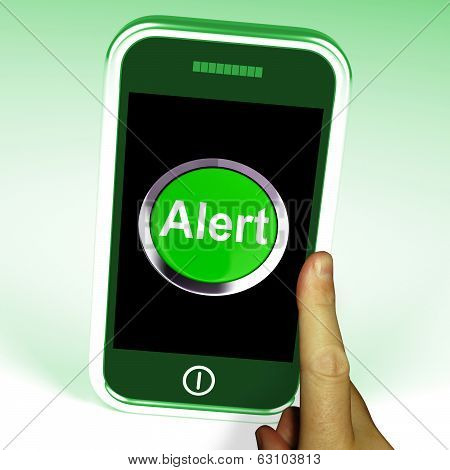 Alert Smartphone Shows Alerting Notification Or Reminder