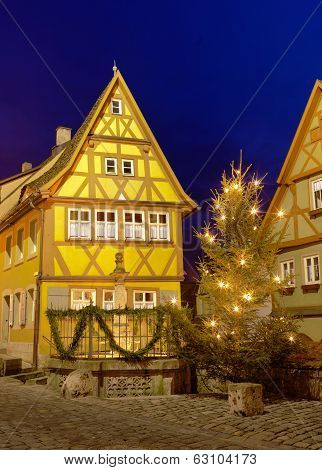 House In Rothenburg Ob Der Tauber By Nigh