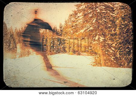 Blurred Skier Retro Effect