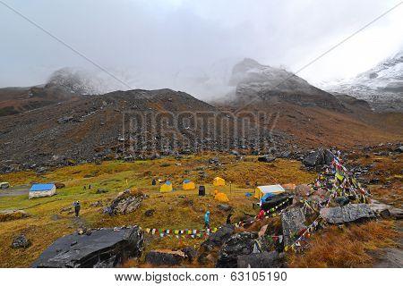 Tents In Annapurna Base Camp, Nepal