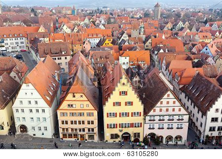 Aerial Of The Old Town, Rothenburg Ob Der Tauber