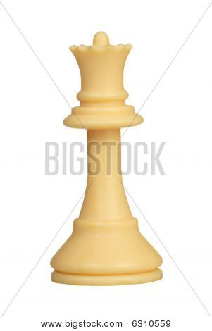 plastic white chess queen isolated