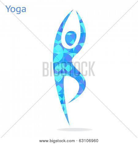 Yoga asana - symbol on white background.Vector