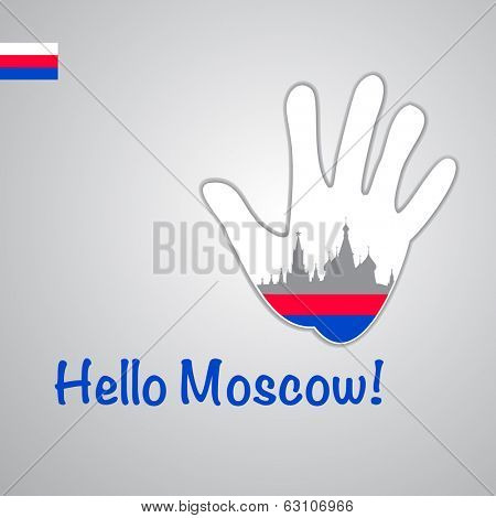 Template - hello Moscow. Background-hand with the flag of Russia and Moscow major attractions - Kremlin and St. Basil's Cathedral . Vector