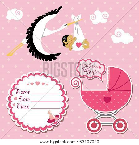 Baby Shower Card,invitation,scrapbook With Stork And Asian Girl