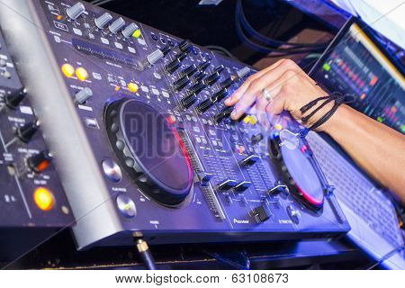 DJ mixer in a party on Ibiza (Spain)