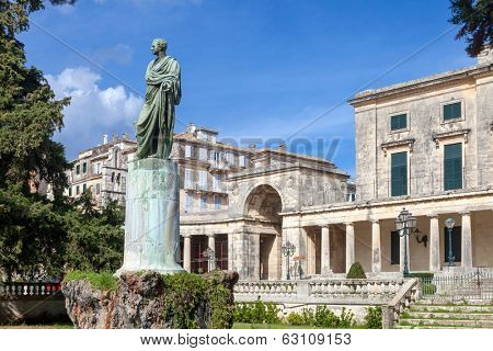 General Sir Frederick Adam's statue in front of the Museum of Asian Art, Corfu Town. As governor he built an aqueduct that brought fresh water to the island capital, earning the people's gratitude
