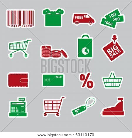 shopping stickers set eps10
