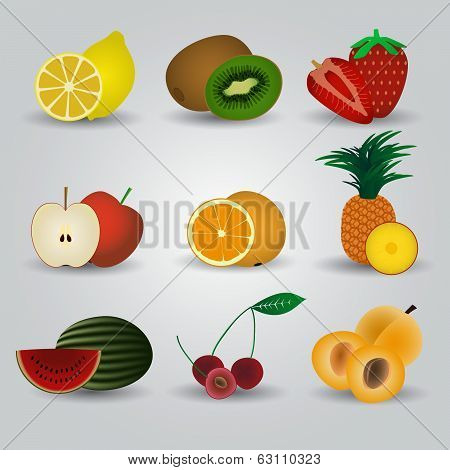 colorful fruits and half fruits icons eps10