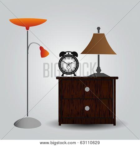 bedroom bedside table and alarm clock eps10