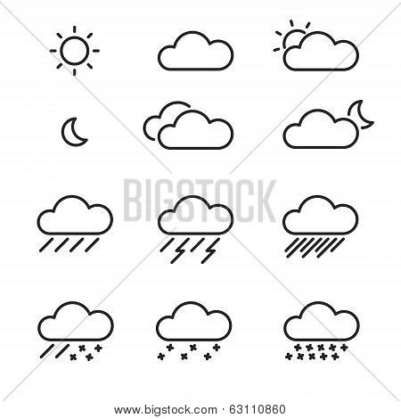 Set Of Vector Weather Icons