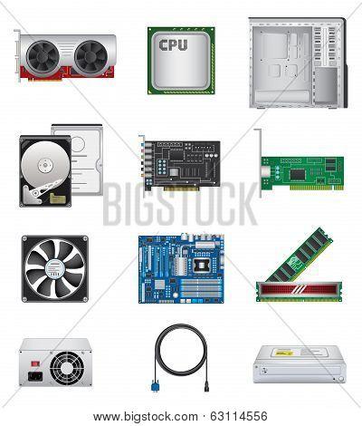 Computer parts icon set